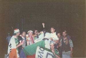 Irish Fans Celebrating With Italian Fans