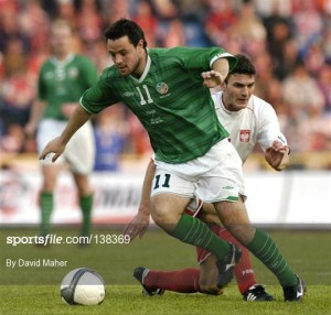 Andy Reid in action v Poland 2004