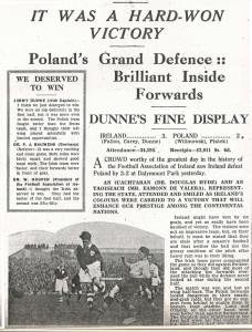 Ireland 3 2 Poland 13th Nov 1938 newspaper